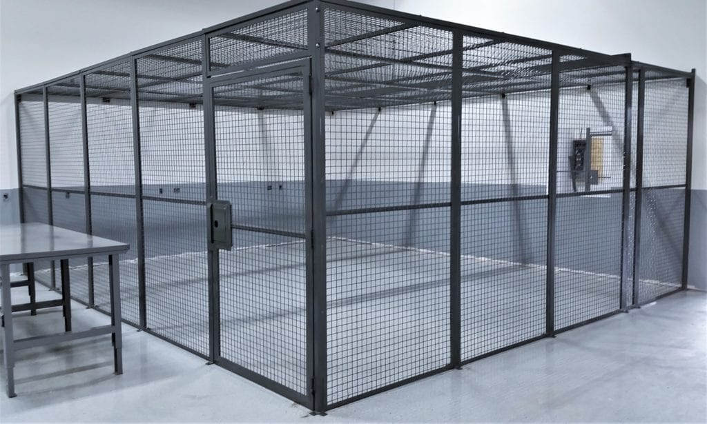 DEA approved storage cage dea drug cage medium duty steel mesh antitheft system self closing locking metal cage