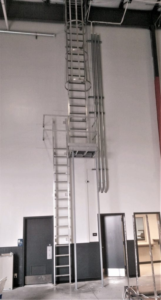 aluminum extra tall roof access ladder aluminum ships ladder osha cage access ladder roof stairs metal fabrication livonia