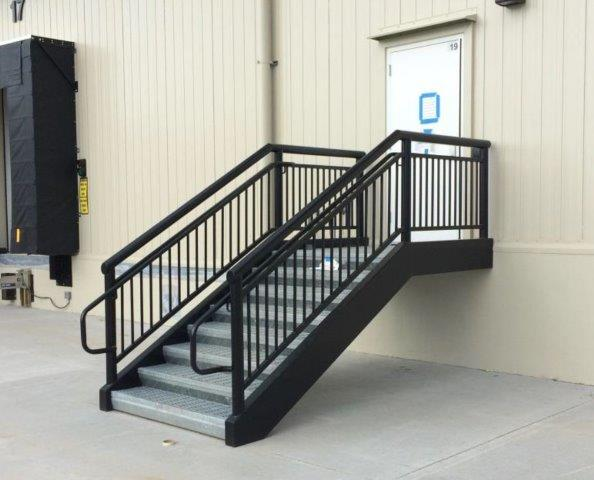 Loading dock stairs warehouse steps metal commercial stairs railing and platform galvanized metal fabrication